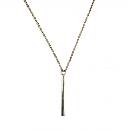 Collier barre verticale plaqué Or 24K