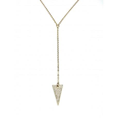 Collier Sautoir Triangle Scintillant plaqué Or 24K